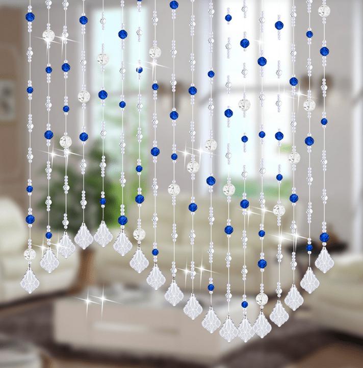 Rèm cửa hạt pha lê phối màu trắng xanh