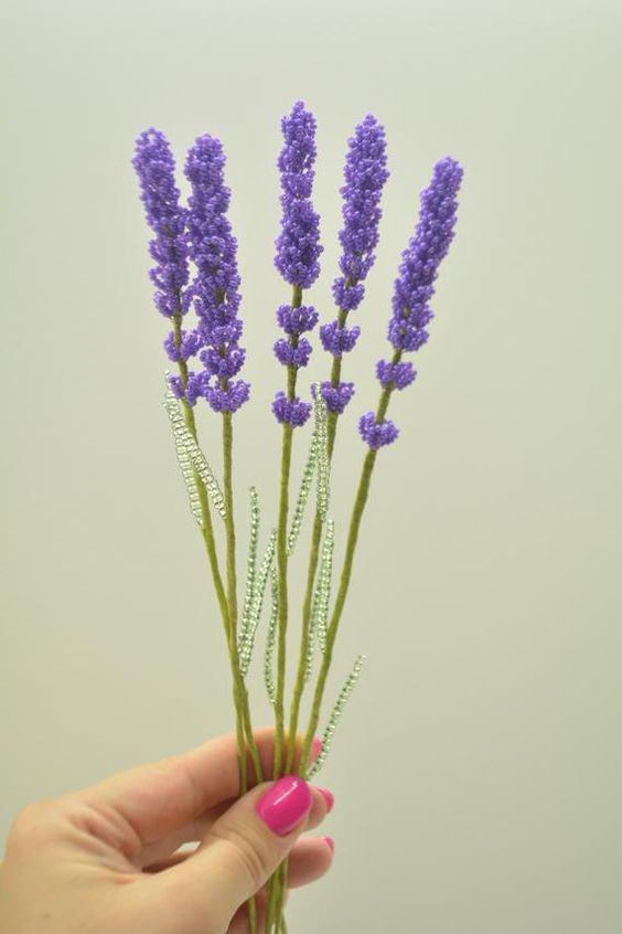 Cách làm hoa oải hương hạt cườm suốt bốn mùa