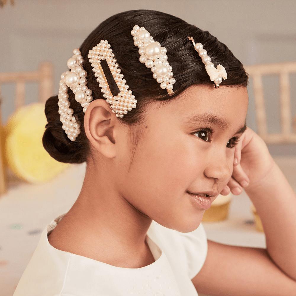 Kẹp tóc hạt cườm cho bé gái đáng yêu