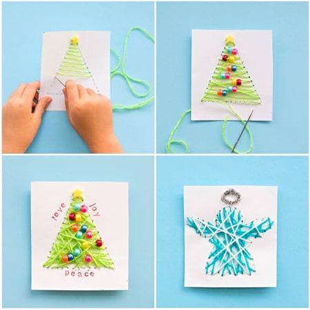 Thiệp giáng sinh handmade trang trí bằng hạt cườm