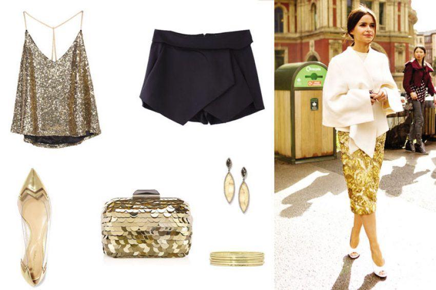 Các nàng có thể kết hợp set đồ áo sequin và chân váy cùng những món phụ kiện như giày bệt, túi clutch hay trang sức lấp lánh,... cùng tone màu (Nguồn: Internet)