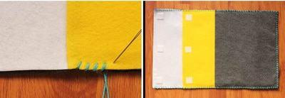 Khâu cố định các tấm vải lại với nhau và đính miếng dán khóa lên miệng túi đựng (Nguồn: Internet)