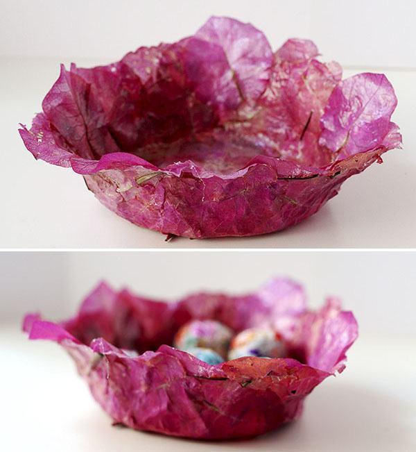 Chiếc bát đựng handmade bằng hoa giấy hứa hẹn sẽ trở thành vật phẩm độc lạ cho tổ ấm của bạn (Nguồn: Internet)