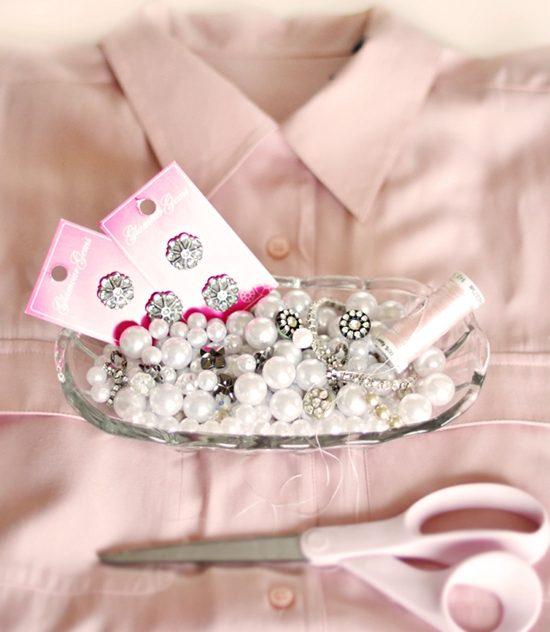 Nguyên vật liệu và dụng cụ cần chuẩn bị để đính hạt cho cổ áo sơ mi (Nguồn: Internet)